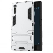 Cool PC and TPU 2 in 1 Combo Case for Sony Xperia XZs / XZ with Kickstand - Silver
