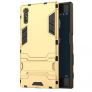 Cool PC and TPU 2 in 1 Combo Phone Case for Sony Xperia XZs / XZ with Kickstand - Gold
