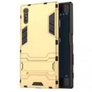 Υβριδική Θήκη Συνδυασμού Σιλικόνης TPU και Πλαστικού με Βάση Στήριξης για Sony Xperia XZs / XZ - Χρυσαφί