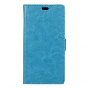 Crazy Horse Magnetic Leather Wallet Case for Huawei Y6II Compact - Blue