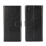 For Sony Xperia XA1 Crazy Horse Leather Wallet Protective Phone Case - Black