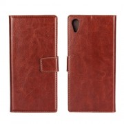For Sony Xperia XA1 Crazy Horse Leather Card Holder Stand Mobile Casing - Brown