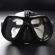 Dry Wide View Anti-fog Diving Snorkeling Goggles with GoPro Action Camera Adapter - Black