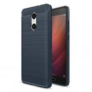 Carbon Fibre Brushed TPU Protective Case for Xiaomi Redmi Pro - Dark Blue