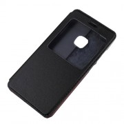 View Window Leather Stand Cell Phone Case for Huawei P10 Lite - Black