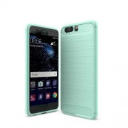 Carbon Fibre Brushed TPU Mobile Phone Case for Huawei P10 - Cyan
