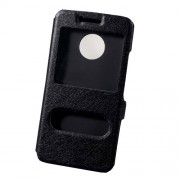 Silk Texture Double Window Leather Phone Cover for Motorola Moto G5 - Black