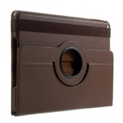 360 Degree Rotation Stand Litchi Grain Leather Folio Case for iPad 9.7 (2017) / 9.7 (2018) - Brown