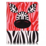 Patterned Leather Wallet Stand Flip Case for iPad 4/3/2 - Cute Cartoon Zebra