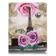 Patterned Leather Wallet Phone Case for iPad 4/3/2 - Map, Eiffel Tower and Purple Rose