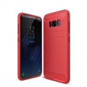 Carbon Fibre Brushed TPU Back Case for Samsung Galaxy S8 Plus - Red