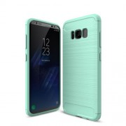 Carbon Fibre Brushed TPU Gel Case for Samsung Galaxy S8 Plus - Cyan