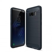 Carbon Fibre Brushed TPU Protective Case for Samsung Galaxy S8 Plus - Dark Blue