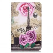 Leather Case for Samsung Galaxy Tab A 10.1 (2016) T580 T585 - Eiffel Tower, Roses and Map