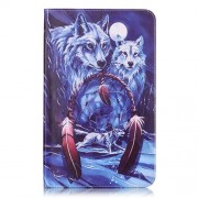 Leather Tablet Case for Samsung Tab A 10.1 (2016) T580 T585 - Wolves and Dream Catcher