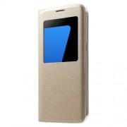 Δερμάτινη Θήκη Βιβλίο Smart Cover για Samsung Galaxy S7 edge G935 - Χρυσαφί