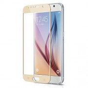 3D Curved Tempered Glass Screen Film for Samsung Galaxy S6 G920 Silk Print Full Size - Gold