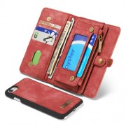 CASEME Multi-slot Wallet 2-in-1 PC Vintage Split Leather Cover for iPhone 7 4.7 inch - Red