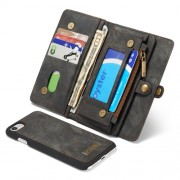 CASEME 2-in-1 Multi-slot Wallet Vintage Split Leather Case for iPhone 7 4.7 inch - Grey
