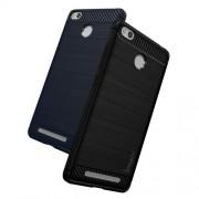 IPAKY Λεπτή Θήκη Σιλικόνης TPU Brushed με Διακόσμηση Carbon Fiber για Xiaomi Redmi 3s - Μαύρο