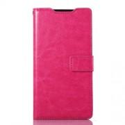 Δερμάτινη Θήκη Πορτοφόλι με Βάση Στήριξης με Γυαλιστερή Όψη για Sony Xperia Z3 D6653 D6603 - Φούξια