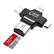4 In 1 Multifunctional Micro SD TF Card Reader for Lightning iOS/OS X/PC/OTG Android - Black