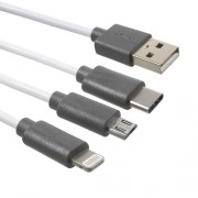 PINZUN 3-in-1 Καλώδιο Φόρτισης Type-c και Micro USB και Lightning 8 Pin 1 μέτρο - Λευκό
