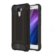 Heavy Duty Rugged Hybrid Cell Phone Case (Plastic + TPU) for Xiaomi Redmi 4 - Black