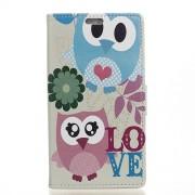 Δερμάτινη Θήκη Πορτοφόλι με Βάση Στήριξης για Xiaomi Redmi 4a - Χαριτωμένες Κουκουβάγιες με τη Λέξη Love