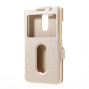 Silk Texture Dual Window Leather Shell Stand for Lenovo K6 Power - Gold