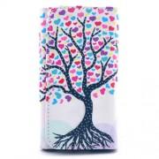 Universal Δερμάτινη Θήκη Πορτοφόλι για Smartphones 5,2 με 5,5 ίντσες (155 x 80mm) - Όμορφο Πολύχρωμό Δέντρο