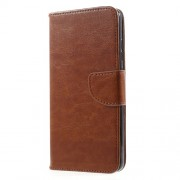 Crazy Horse Folio Leather Wallet Case for Huawei Mate 9 - Brown