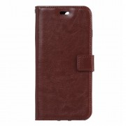 Crazy Horse Leather Card Slot Case with Wrist Strap for Huawei Honor 8 - Brown