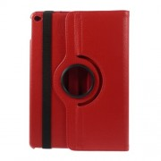 360 Degree Rotary Stand Litchi Grain Leather Shell for iPad Air 2 - Red