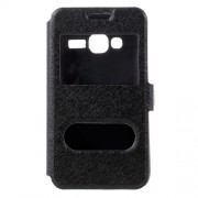 Silk Texture 2 Open Windows Leather Case for Samsung Galaxy J1 mini prime - Black