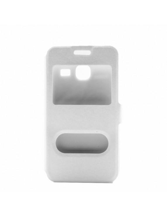 728a6a649e Δερμάτινη Θήκη Βιβλίο Smart Cover (Όψη Μεταξιού) για Samsung Galaxy J1 mini  - Λευκό (50009094) by stoucky.gr