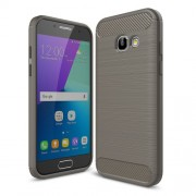For Samsung Galaxy A3 (2017) Carbon Fiber Texture Brushed TPU Back Case - Grey