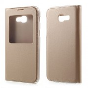 Plastic View Window Leather Flip Case for Samsung Galaxy A3 (2017) - Gold
