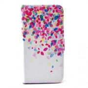 Δερμάτινη Θήκη Πορτοφόλι με Βάση Στήριξης για Samsung Galaxy S6 G920 - Πολύχρωμα Πέταλα σε Λευκό Φόντο