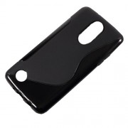 For for LG Aristo MS210 / K8 2017 M200N S-Shape TPU Phone Case Cover - Black