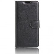 Lychee Skin Leather Wallet Case for LG K3 (4G) - Black