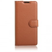 Lychee Skin Protective Leather Wallet Case for LG K3 (4G) - Brown