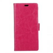 Crazy Horse Wallet Leather Cover Case for LG X mach - Rose