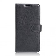 Litchi Skin Leather Wallet Case for LG X Cam - Black