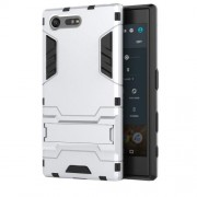 Cool Guard Hybrid Plastic + TPU Kickstand Case for Sony Xperia X Compact - Silver