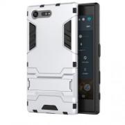 Υβριδική Θήκη Συνδυασμού Σιλικόνης TPU και Πλαστικού με Βάση Στήριξης για Sony Xperia X Compact - Ασημί