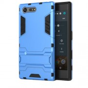Cool Plastic + TPU Kickstand Hybrid Shell Cover for Sony Xperia X Compact - Light Blue