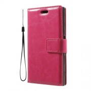 Crazy Horse Leather Stand Case for Sony Xperia X Compact with Strap - Rose