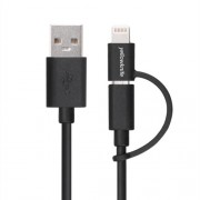 YELLOWKNIFE MFi Certified 1M Lightning 8pin + Micro USB Charging Data Cable for iPhone iPad Samsung Etc - Black