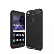 Brushed TPU Carbon Fiber Phone Case for Huawei P8 Lite (2017) / Honor 8 Lite - Black